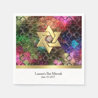 Schläger Mitzvah Juwel tont Shimmery abstraktes Papierserviette