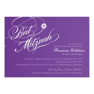 SCHLÄGER MITZVAH LADEN stilvolles lila Typografie 12,7 X 17,8 Cm Einladungskarte