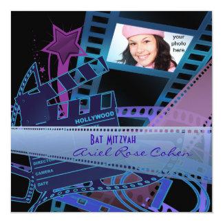 Schläger Mitzvah lila Fotohollywood-Stern Quadratische 13,3 Cm Einladungskarte