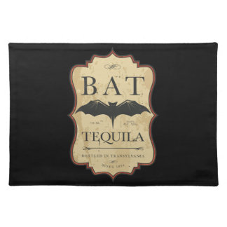 Schlägertequila-Vintager Halloween-Aufkleber Stofftischset