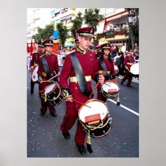 Schlagzeuger auf Palmsonntag, Marbella Poster