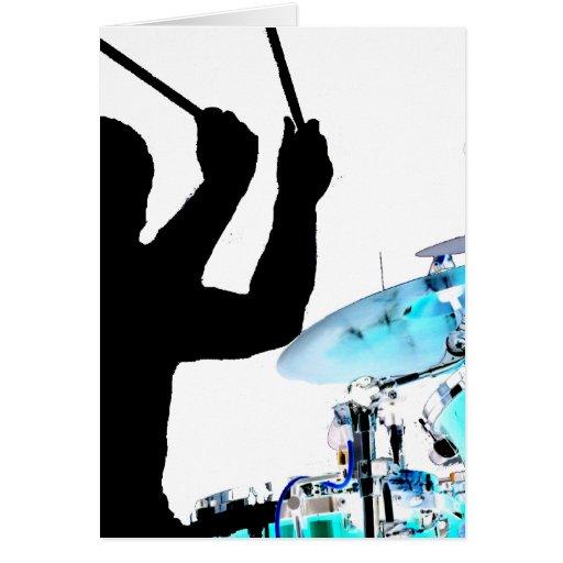 Schlagzeuger haftet in den umgewandelten Trommeln  Grußkarte