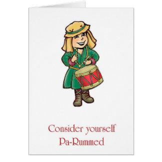 Schlagzeuger-Junge PA-Rum Feiertags-Gruß-Karten Karte