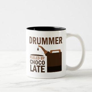 Schlagzeuger-(lustige) Schokolade Zweifarbige Tasse