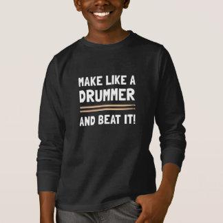 Schlagzeuger-Schlag es T-Shirt