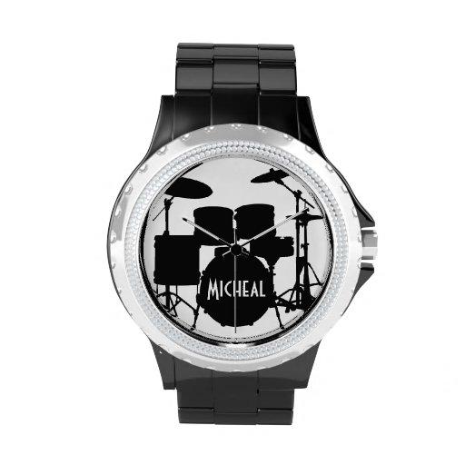 Schlagzeuger-Uhr mit individuellem Namen