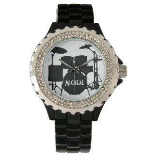 Schlagzeuger-Uhr mit individuellem Namen Uhr
