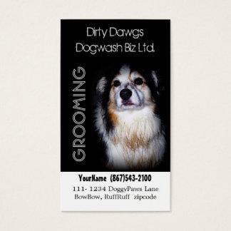 Schlammiger HundeGroomer oder Hundewäsche Visitenkarte