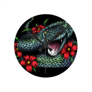 Schlange - Schwarzes Runde Wanduhr