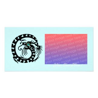 SCHLANGEN-DRACHE, blauer Turquase Aquamarine Photo Karten Vorlage