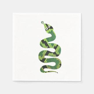 Schlangen-schwarze und grüne Druck-Silhouette Serviette