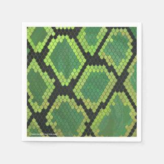 Schlangen-schwarzer und grüner Druck Papierserviette