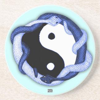 Schlangen verdoppeln (Blau) Sandstein Untersetzer