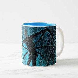 Schlanker Mann im Holz Zweifarbige Tasse