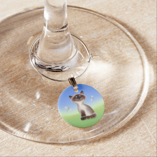 Schlaue Katze Weinglas Anhänger