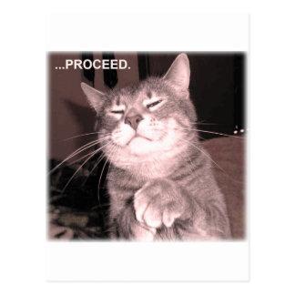 Schlechte Katze sagt fortfahren mit dem Rahmenplan Postkarte