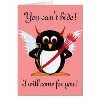 Schlechte Pinguin-Amor-Valentinsgruß-Karte Karte