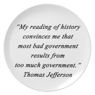 Schlechte Regierung - Thomas Jefferson Melaminteller