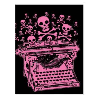Schlechte rosa Schreibmaschine Postkarte