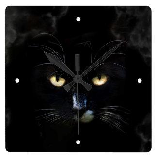 Schlechte schwarze Katzen-Wanduhr Quadratische Wanduhr