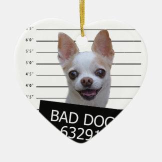 Schlechter Hund - Chihuahua Keramik Herz-Ornament