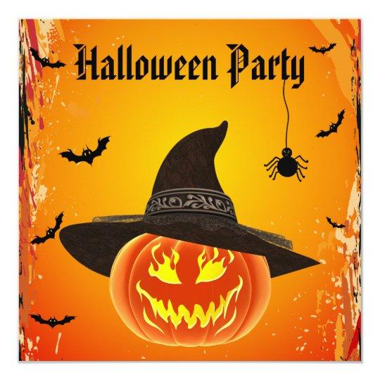 Schlechter Kürbis Im Hexe Hut Halloween Quadratische 13,3 Cm, Einladungs