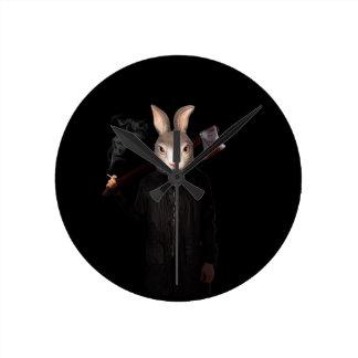 Schlechtes Kaninchen Runde Wanduhr