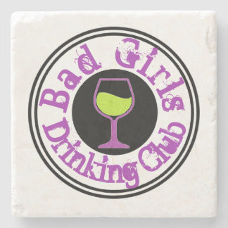Schlechtes Mädchen-trinkendes Verein-Wein-Glas Steinuntersetzer