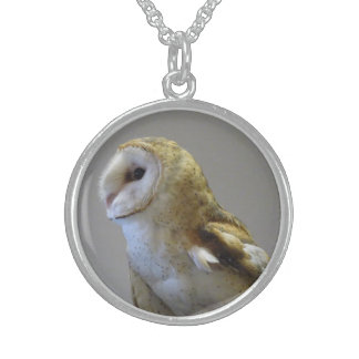 Schleiereule-Porträt-Halskette Sterling Silberkette