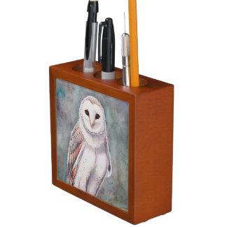 Schleiereule-und Eagle-Eulen-Tier-Kunst Stifthalter