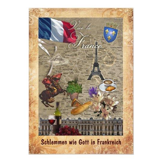 Schlemmen wie Gott in Frankreich 12,7 X 17,8 Cm Einladungskarte