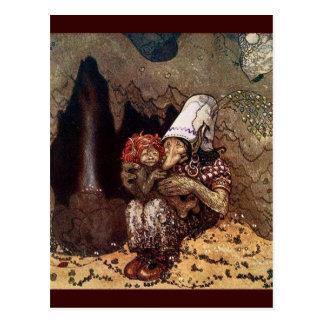 Schleppangel-Mutter neben einem Lagerfeuer Postkarten
