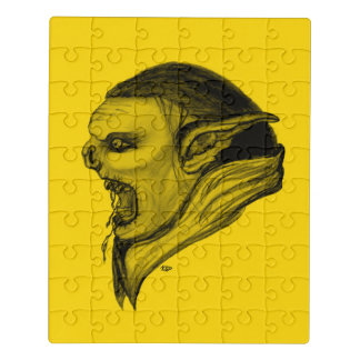 Schleppangel-schwarzer und gelber Entwurf Puzzle