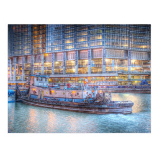 Schlepper auf Chicago River Postkarte