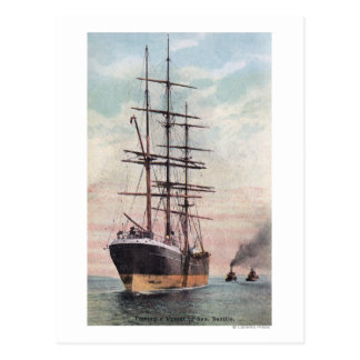 Schlepper, die ein Schiff zum Meer schleppen Postkarte