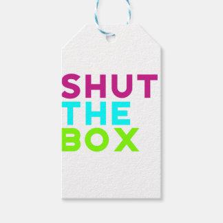 Schließen Sie das Kasten-Logo Geschenkanhänger