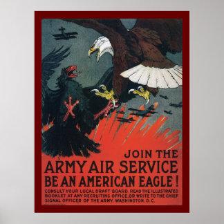 Schließen Sie sich dem Armee-Fluglinienverkehr an Poster