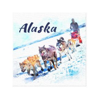 Schlitten (AK)hundeteam Aquarellmalerei Alaskas A Leinwanddruck
