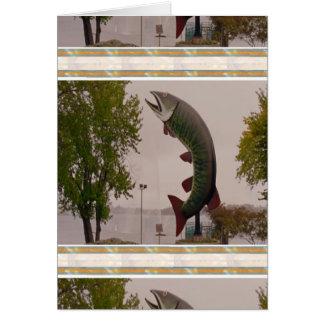 Schlittenhund die Muskie Fisch-Straßenrand-Show Grußkarte