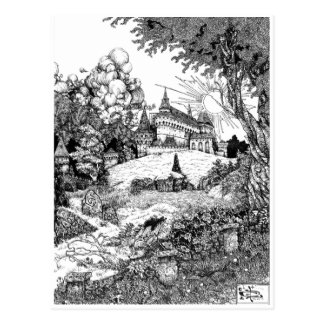 Schloss auf dem Hügel Postkarte