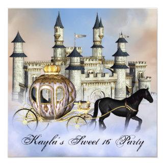 Schloss bewölkt Party Prinzessin-Fairytale Sweet Quadratische 13,3 Cm Einladungskarte