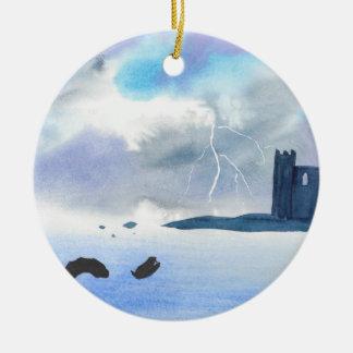 Schloss durch das Meer Rundes Keramik Ornament