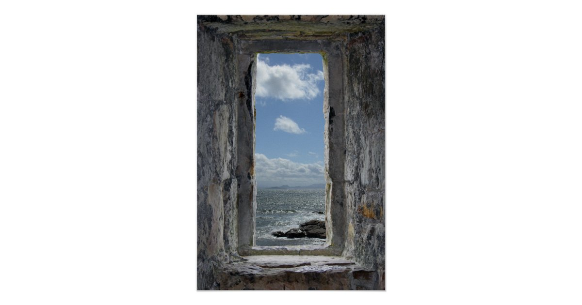schloss fenster illusion mit meerblick ansicht poster zazzle. Black Bedroom Furniture Sets. Home Design Ideas