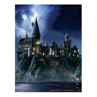 Schloss Harry Potters   Hogwarts nachts Postkarte