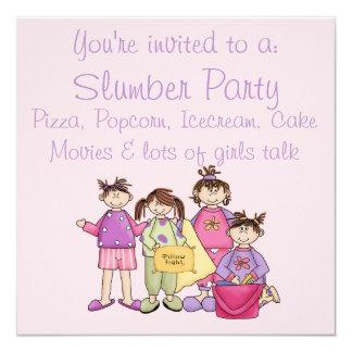 Schlummer-Party des Mädchens Nacht Quadratische 13,3 Cm Einladungskarte