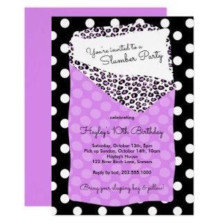 Schlummer-Party Einladung, Schlafsack, lila 12,7 X 17,8 Cm Einladungskarte