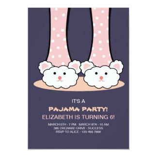Schlummer-Party-Häschen-Pantoffel-Einladung 12,7 X 17,8 Cm Einladungskarte