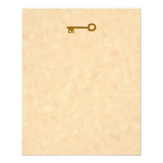 Schlüssel. Brown-Schlüssel auf Pergament-Effekt Flyer Druck
