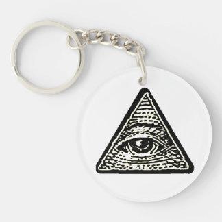 Schlüssel tragen- rund Auge, das alles sieht Beidseitiger Runder Acryl Schlüsselanhänger
