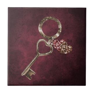 Schlüssel zu Ihrem Herzen Kleine Quadratische Fliese